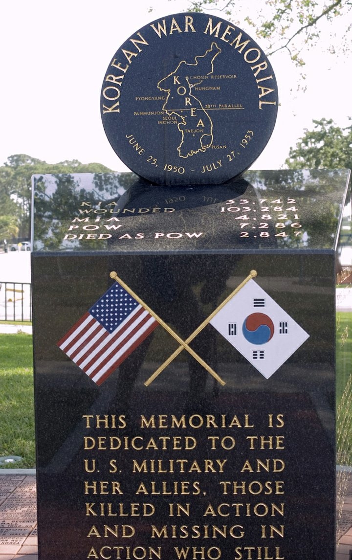 korean war educator korean war memorials florida front click pix for larger view